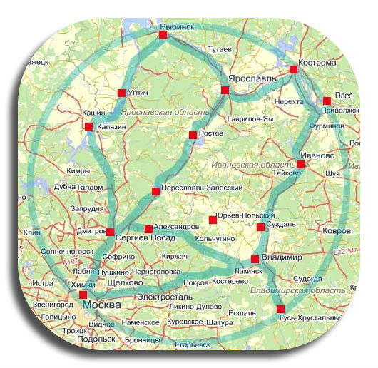 Карта золотого кольца россии
