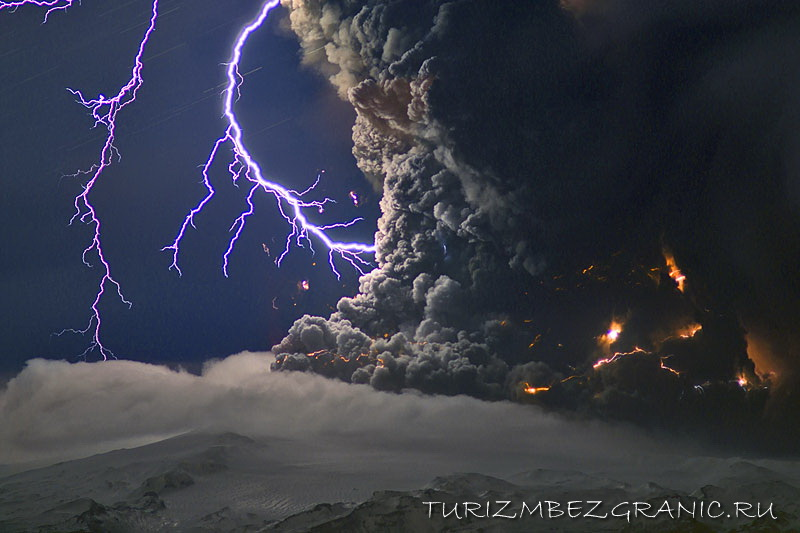 Электрические разряды при извержении вулкана