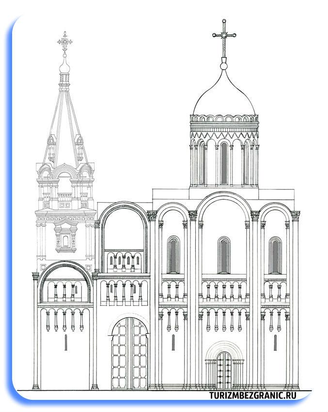 Собор Рождества Богородицы и северный комплекс пристроек в XII веке Реконструкция В К Емелина