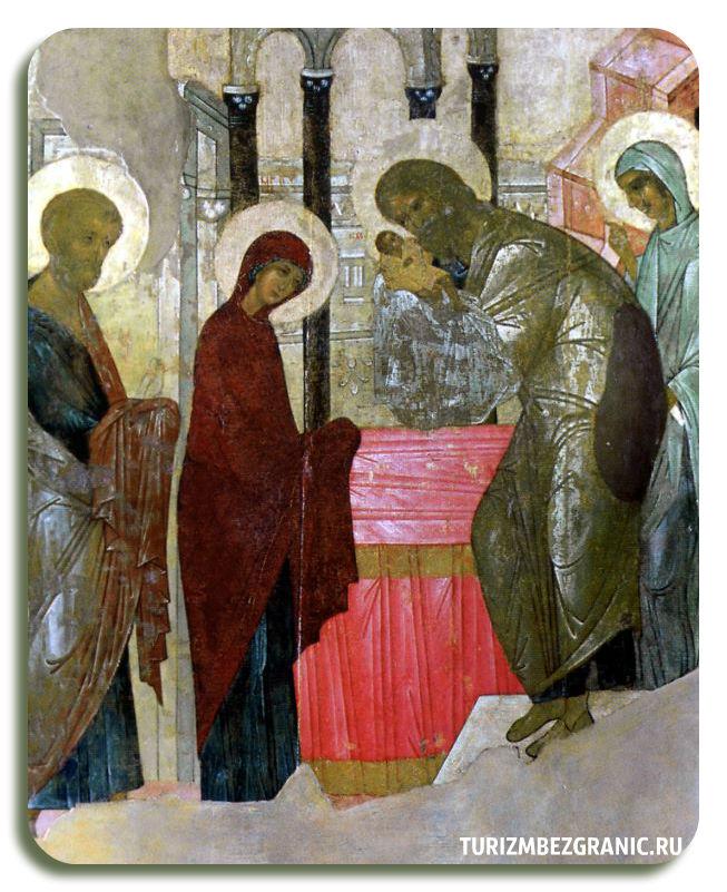 Икона «Сретение» из иконостаса Успенского собора во Владимире Совместный труд Андрея Рублева и Даниила Черного Около 1408 г