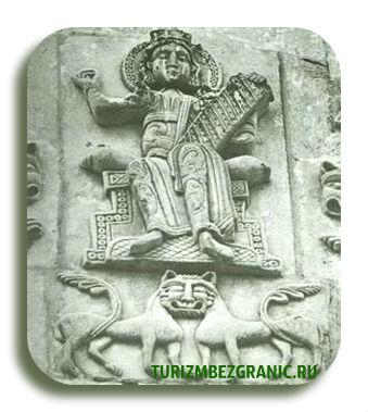 Царь Давид. Изображение на Дмитриевском соборе во Владимире