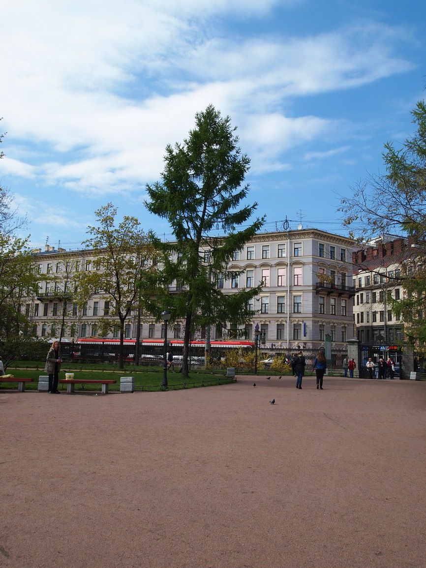 Вид на лиственницу и Садовую улицу